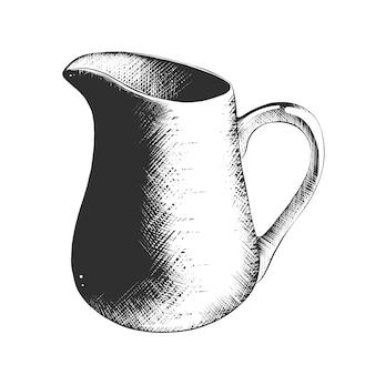 Schizzo disegnato a mano della brocca di latte in bianco e nero