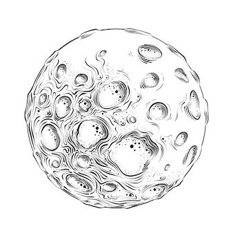 Schizzo disegnato a mano del pianeta luna in nero isolato. disegno dettagliato in stile vintage.