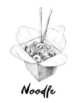 Schizzo disegnato a mano della scatola di tagliatelle in bianco e nero