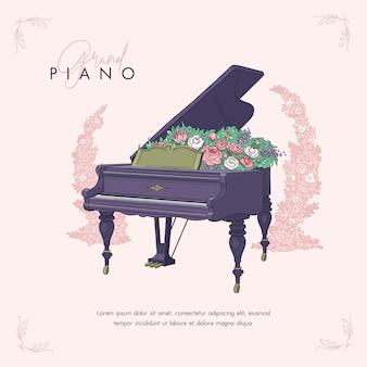 Schizzo disegnato a mano di pianoforte e fiori Vettore Premium