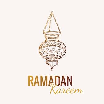 Schizzo disegnato a mano della lanterna tradizionale araba della torcia elettrica di ramadan kareem
