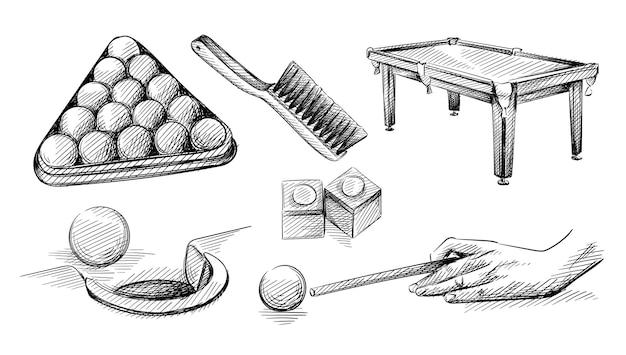 Insieme di schizzo disegnato a mano di biliardo e oggetti da piscina.