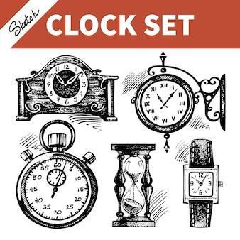Schizzo disegnato a mano set di orologi e orologi