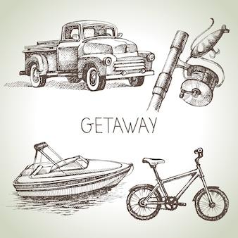 Insieme di schizzo disegnato a mano di vacanza in famiglia. illustrazione