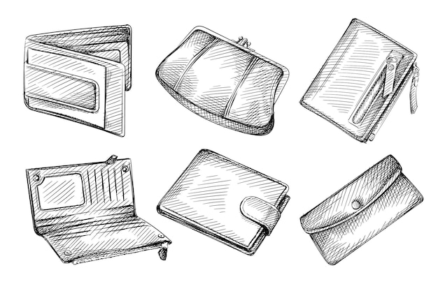 Insieme di schizzo disegnato a mano di portafogli femminili e maschili su sfondo bianco.