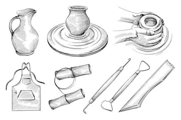 Insieme di abbozzo disegnato a mano di ceramiche, strumenti di ceramica.