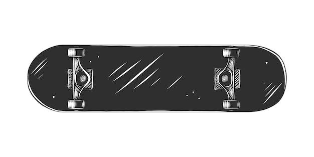 Schizzo disegnato a mano di skateboard in bianco e nero