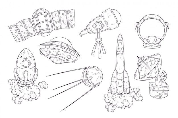 Schizzo disegnato a mano della collezione di elementi dello spazio