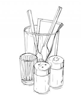 Schizzo disegnato a mano della natura morta con l'agitatore di sale e pepe e la coltelleria isolati su un bianco