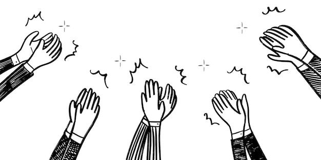 Stile di schizzo disegnato a mano di applausi, gesto di pollice in alto. mani umane che applaudono ovazione. in stile scarabocchio, illustrazione vettoriale.