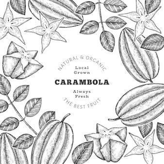 Banner di carambole stile schizzo disegnato a mano. illustrazione di frutta fresca biologica. modello di frutta retrò