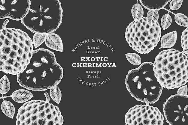 Banner di cherimoya stile schizzo disegnato a mano. illustrazione vettoriale di frutta fresca biologica sulla lavagna. modello di disegno botanico.