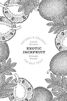 Banner di jackfruit stile schizzo disegnato a mano. illustrazione vettoriale di frutta fresca biologica. modello di design dell'albero del pane retrò