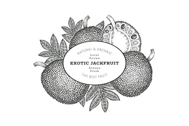 Modello di etichetta jackfruit stile schizzo disegnato a mano