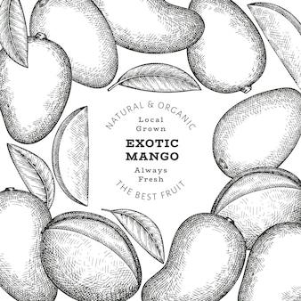 Banner di mango stile schizzo disegnato a mano. illustrazione vettoriale di frutta fresca biologica. modello di disegno di frutta di mango retrò
