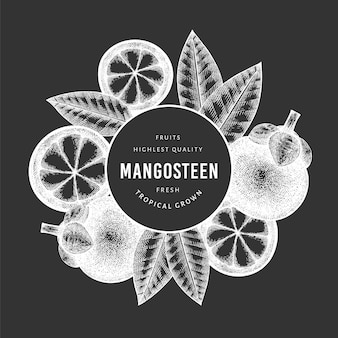 Modello di mangostano stile schizzo disegnato a mano. illustrazione di alimenti freschi biologici sulla lavagna. banner di frutta retrò.