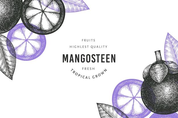 Modello di mangostano stile schizzo disegnato a mano. illustrazione di alimenti freschi biologici su sfondo bianco. frutta retrò.
