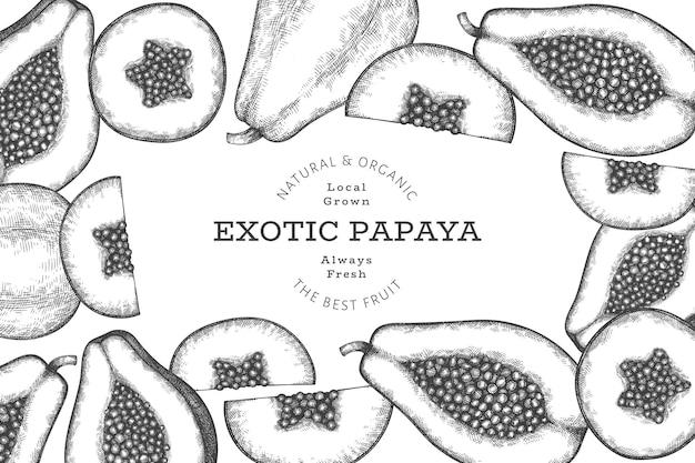 Banner di papaia stile schizzo disegnato a mano. illustrazione vettoriale di frutta fresca biologica. modello di design di frutta retrò