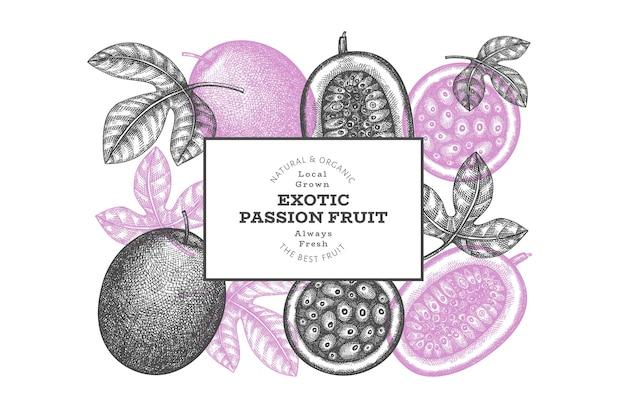 Banner di frutto della passione in stile schizzo disegnato a mano. illustrazione vettoriale di frutta fresca biologica. modello di design di frutta esotica retrò
