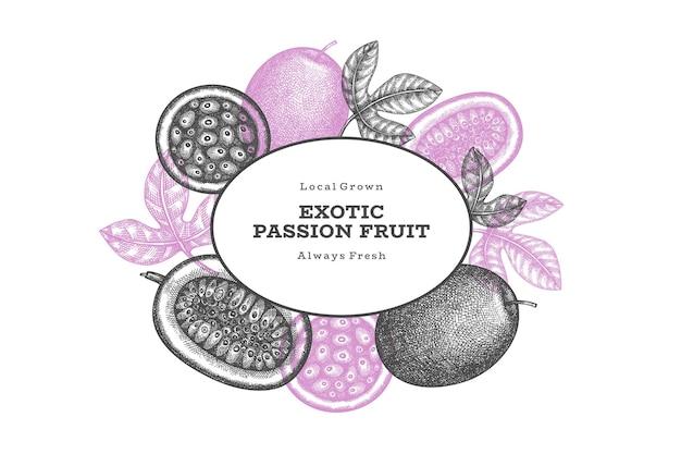 Etichetta di frutto della passione stile schizzo disegnato a mano