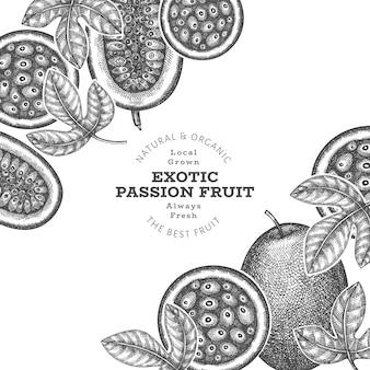 Frutto della passione stile schizzo disegnato a mano
