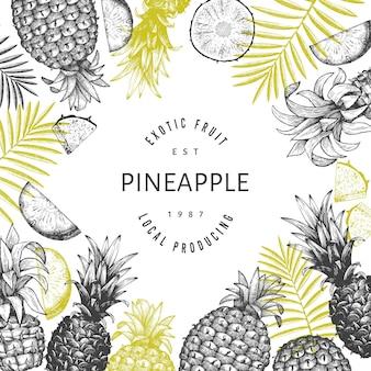 Banner di ananas stile schizzo disegnato a mano. illustrazione di frutta fresca biologica. modello botanico in stile inciso.
