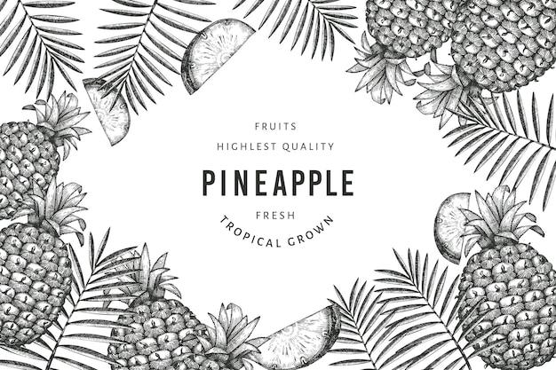 Banner di ananas stile schizzo disegnato a mano. illustrazione di frutta fresca biologica su sfondo bianco. modello botanico in stile inciso.