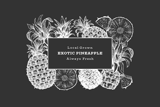 Banner di ananas stile schizzo disegnato a mano. illustrazione vettoriale di frutta fresca biologica sulla lavagna. modello di disegno botanico.