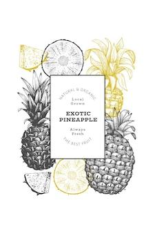 Banner di ananas stile schizzo disegnato a mano. illustrazione vettoriale di frutta fresca biologica. modello di disegno botanico in stile inciso.