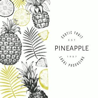 Ananas di stile schizzo disegnato a mano. illustrazione di frutta fresca biologica. modello di disegno botanico in stile inciso.
