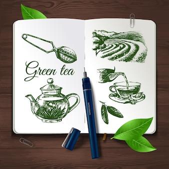 Set da tè schizzo disegnato a mano. identità vettoriale impostata su fondo in legno