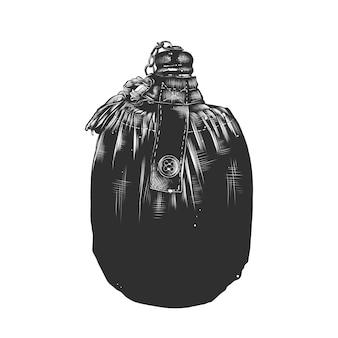 Schizzo disegnato a mano del pallone da viaggio in bianco e nero