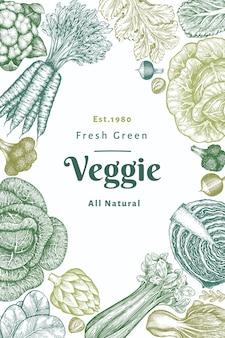 Verdure di schizzo disegnato a mano. modello di banner di alimenti freschi biologici. sfondo vegetale retrò. illustrazioni botaniche in stile inciso.