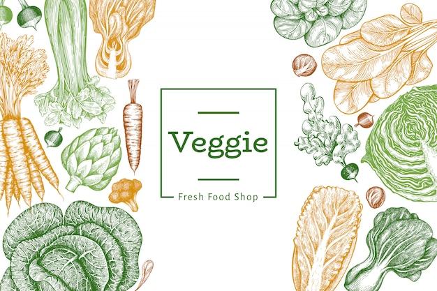 Verdure di schizzo disegnato a mano alimenti biologici freschi sfondo vegetale retrò. stile inciso botanico.