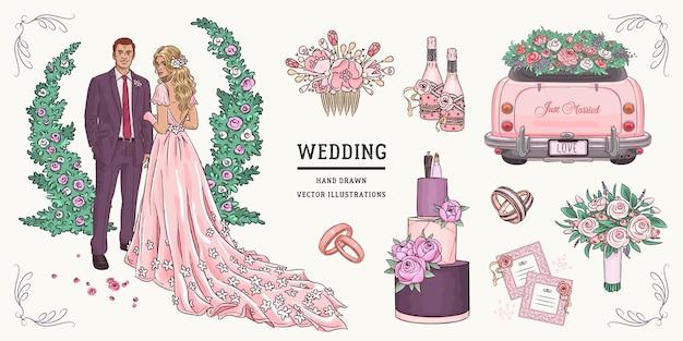 Insieme di nozze schizzo disegnato a mano