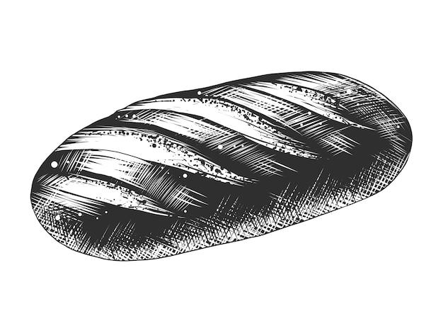 Schizzo disegnato a mano di pagnotta di pane bianco