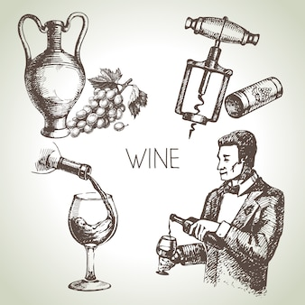 Set vino schizzo disegnato a mano
