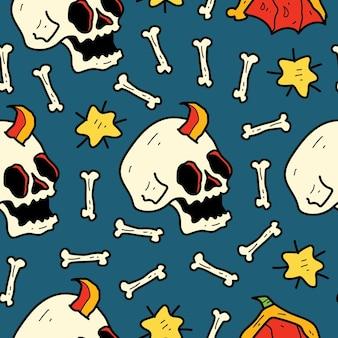 Disegno del modello del fumetto di doodle del cranio disegnato a mano