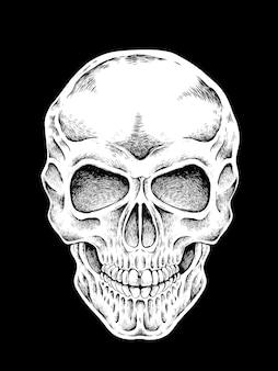 Teschio disegnato a mano in stile squisito su sfondo nero