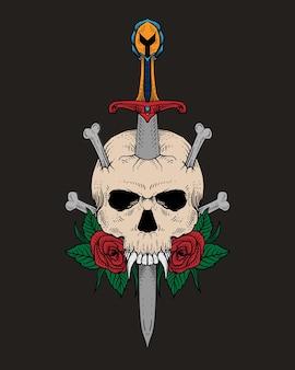 Teschio e spada disegnati a mano