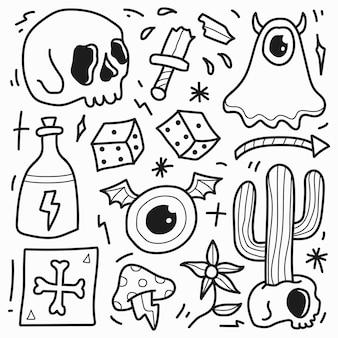 Disegno di doodle del fumetto del tatuaggio del teschio disegnato a mano