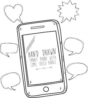 Smart phone disegnato a mano con fumetto comico