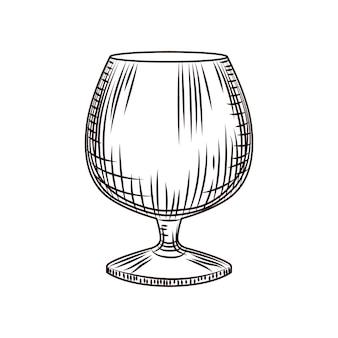 Bicchiere da caffè disegnato a mano. bicchiere di brandy o cognac schizzo isolato su sfondo bianco. stile di incisione. per menu, cartoline, poster, stampe, packaging. illustrazione vettoriale