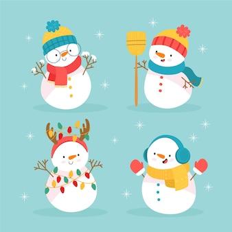 Collezione di personaggi disegnati a mano pupazzo di neve Vettore Premium