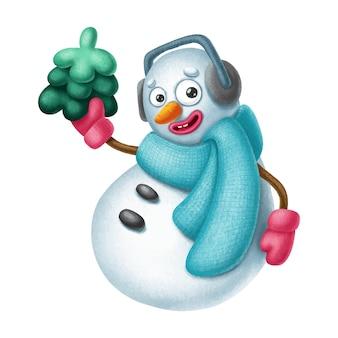 Carattere del pupazzo di neve disegnato a mano con albero di natale