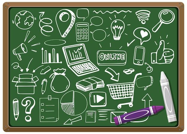 Elemento sociale disegnato a mano sulla lavagna