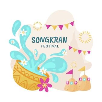 Illustrazione di songkran disegnata a mano