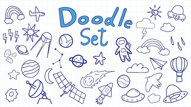 Insieme dell'illustrazione dell'universo di doodle dello spazio disegnato a mano