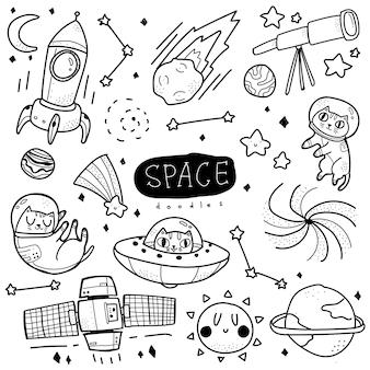 Stile doodle spazio disegnato a mano con illustrazione di gatto carino e adorabile