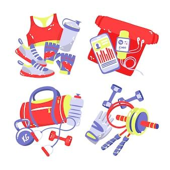 Collezione di adesivi sportivi disegnati a mano Vettore Premium